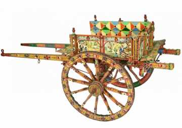 Important Italian Paint Decorated Donkey Cart by Domenico di Mauro